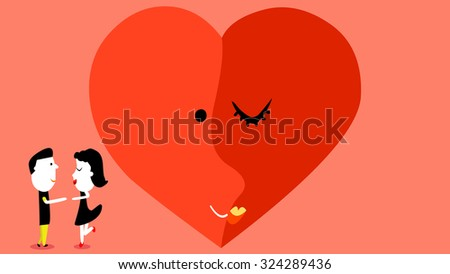 Lovers, young couple, man, woman, girlfriend, boyfriend cartoon drawing character portrait embracing and hugging each other. Heart shape two face, bride and groom kissing lips icon. Valentine's Day. - stock vector