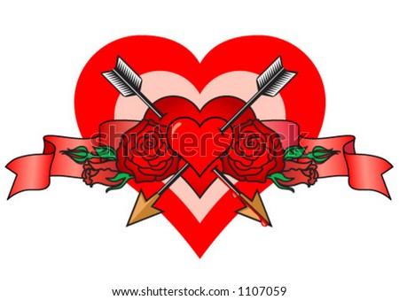 loves, hearts, roses and arrows - stock vector