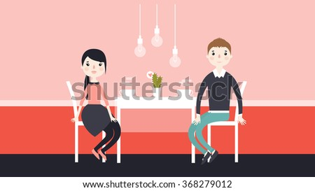 Loving couple in restaurant. Romantic couple sitting in cafe. Man and woman in a restaurant. Couple on a date. Vector illustration. Flat style - stock vector