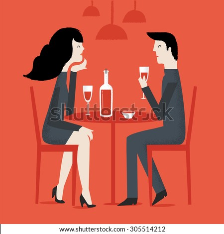 Loving couple in restaurant. Romantic couple sitting in cafe - sharing a bottle of wine. Man and woman in a restaurant. Couple on a date. Vector illustration - stock vector