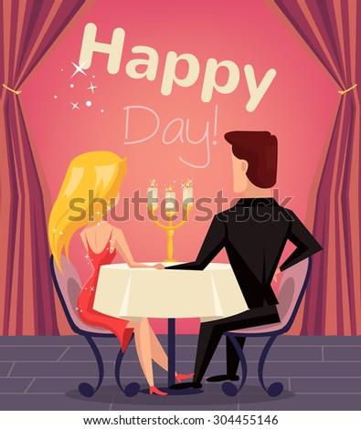 Loving couple in restaurant. Vector flat cartoon illustration - stock vector
