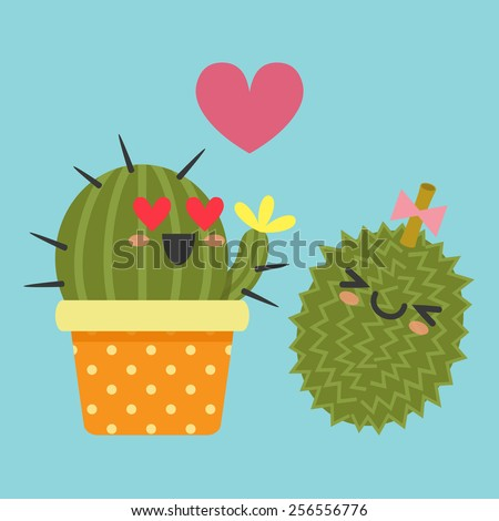loving couple of cactus and durian - stock vector