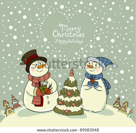 Loving couple of snowmen with gifts beside christmas tree. - stock vector