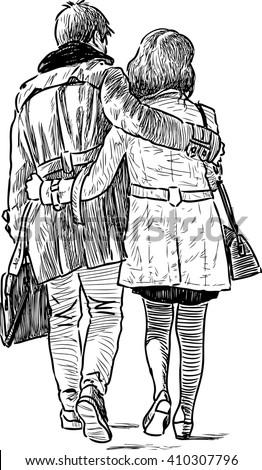 loving couple on a walk - stock vector