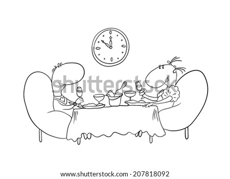 loving couple sitting at a table, contour vector illustration - stock vector