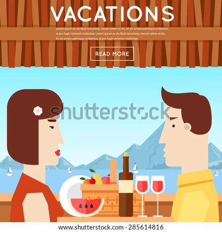 Loving couple sitting in the restaurant on the seafront. Summer. Poster. Flat design vector illustration. - stock vector