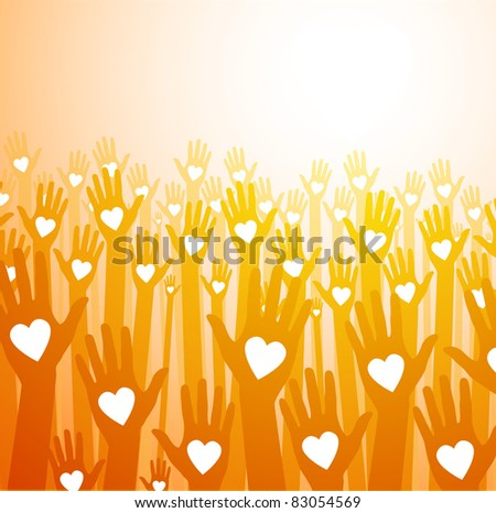 loving hands on paper background - stock vector