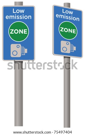 Low emission zone signpost - stock vector