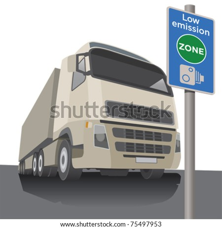 Low emissions zone signpost with a lorry - stock vector