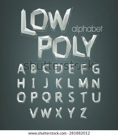 low poly alphabet font. Vector illustration EPS 10 - stock vector