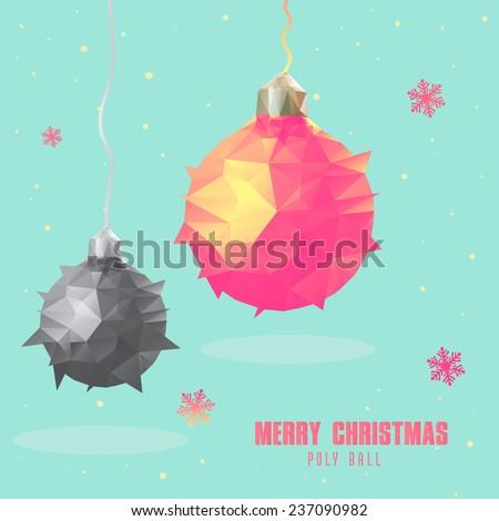 low poly art style Christmas ball polygonal design  - stock vector