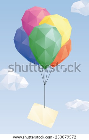 Low Poly balloons with blank greeting card. Low Poly graphic of blank greeting card attached to balloons in the sky. - stock vector