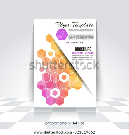 Low Poly Brochure, A4 Flyer Document and Vector Background. Corporate Leaflet, Textbook Cover Design. Image Add Feature Print Ready Business Pamphlet or Polygonal Booklet Template