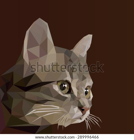 Low poly design. Abstract vector Illustration, low poly style. Stylized design element. Logo design with kitten. Polygonal brown cat illustration. - stock vector