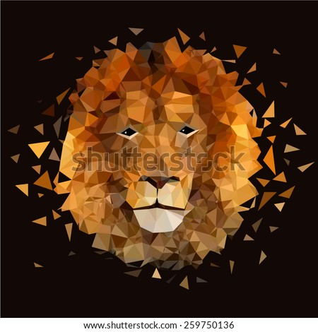 Low poly design. Lion illustration. - stock vector