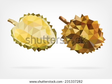 Low Poly Durian fruit - stock vector