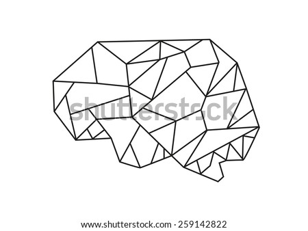 Low Poly graphic design vector of the anatomical shape of the brain. Editable EPS10 Isolated on white Background. - stock vector