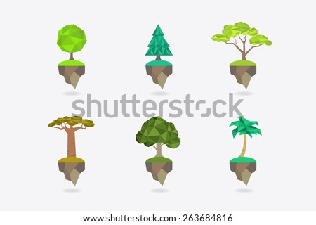 Low Poly icon set types of trees - apple tree, fir, acacia, baobab, oak, palm. Vector icon. - stock vector