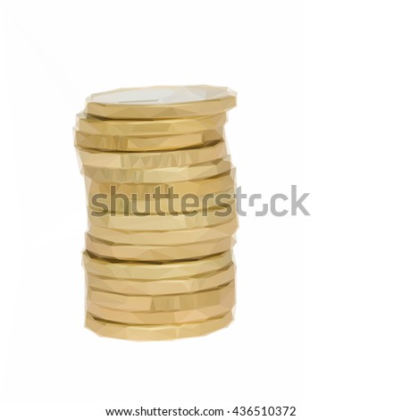 Low poly illustration tower of euro coins - stock vector