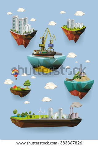 Low poly island with various buildings. Set of vector illustrations. - stock vector