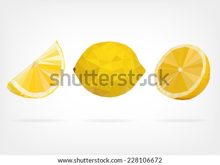 Low Poly Lemon - stock vector