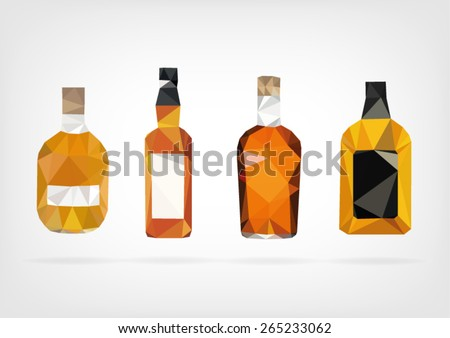 Low Poly Liquor Bottle - stock vector