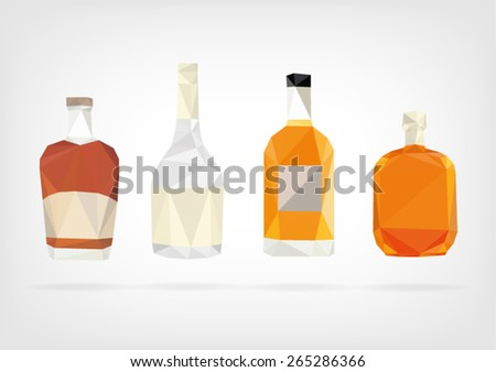Low Poly Liquor Bottles - stock vector