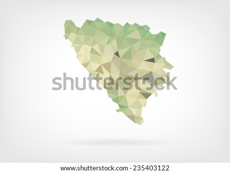 Low Poly Map of Bosnia and Herzegovina - stock vector