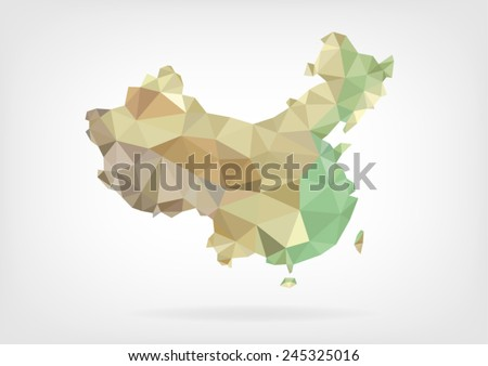Low Poly map of China - stock vector