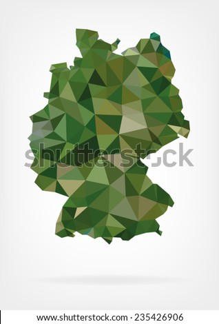 Low Poly Map of Germany - stock vector