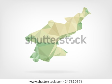 Low Poly map of North Korea - stock vector