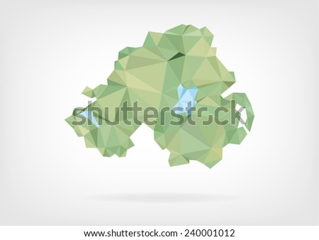 Low Poly map of Northern Ireland - stock vector