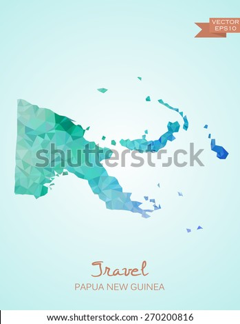Low Poly map of Papua New Guinea isolated. Vector version
