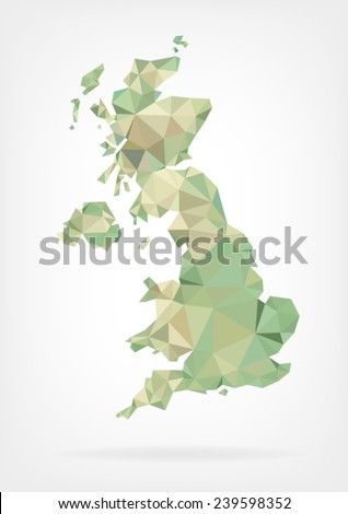 Low Poly map of United Kingdom - stock vector