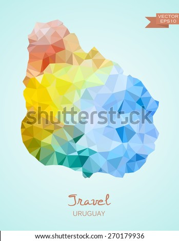 Low Poly map of Uruguay isolated. Vector version - stock vector