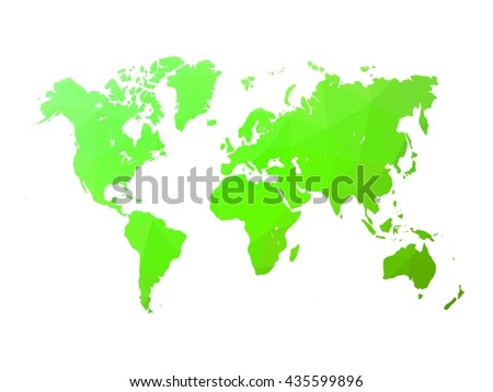 Low poly map of world. World map made of triangles. Green polygonal shape vector illustration on white background. - stock vector