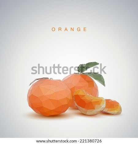 Low poly orange - stock vector