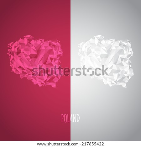 Low Poly Poland Map with National Colors - Infographic - Vector Illustration - stock vector