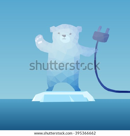 low poly Polar bear  on the iceberg with plug, great for environment concept  - stock vector