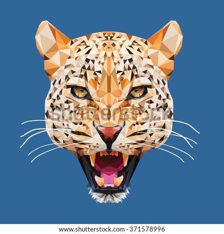 Low poly portrait.Leopard head  in vector, Panthera pardus, big cat, wild animal.Polygonal animal. - stock vector