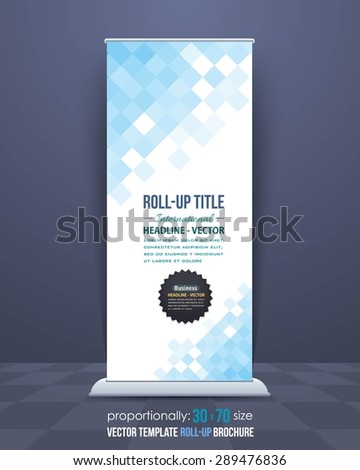 Low Poly Squares Style Roll-Up Banner, Advertising Vector Background Design - stock vector