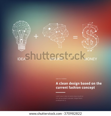 Low Poly Style Linear Light connected with brains convert to money (dollar sign). Vector abstract Illustration with sample text. - stock vector