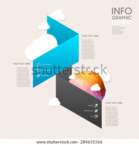 low poly style vector abstract origami paper infographic elements - stock vector