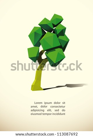 low poly tree 3d imitation . Vector illustration. - stock vector