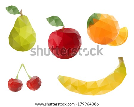Low-poly triangular style fruits - stock vector