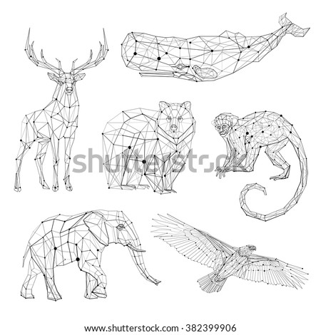 Low poly vector animals set: stylized linear wire construction. Abstract polygonal geometric illustration - stock vector