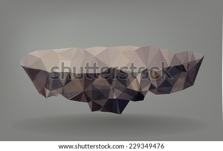 Low Poly Vector Illustration of a floating rock/Island