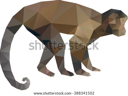 Low Poly Vector Monkey Symbol - stock vector