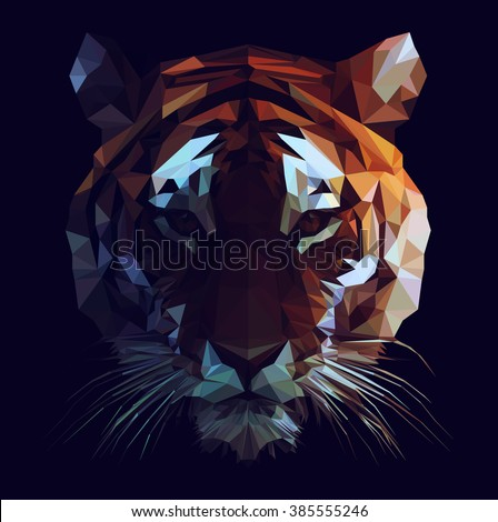 Low poly vector tiger illustration. Polygonal animal graphic design. Color filter on separate layer. - stock vector