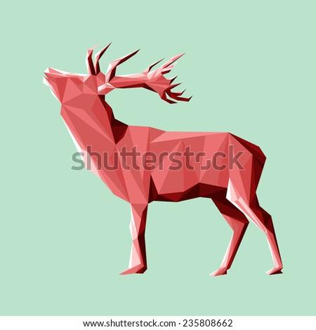Low poly X-mas deer. Vector - stock vector